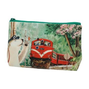 polar zoo插画手绘商品-化妆包-阿里山森林铁路alisan, forest ra