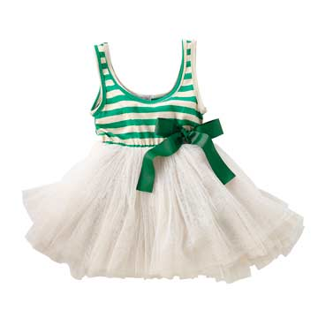 公主系 綠白-橫條蓬蓬裙連身洋裝