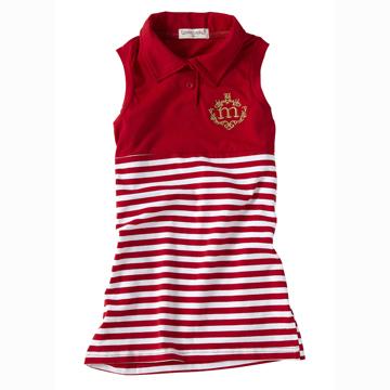 休閒系 艷陽紅-夏日海軍風無袖連身洋裝