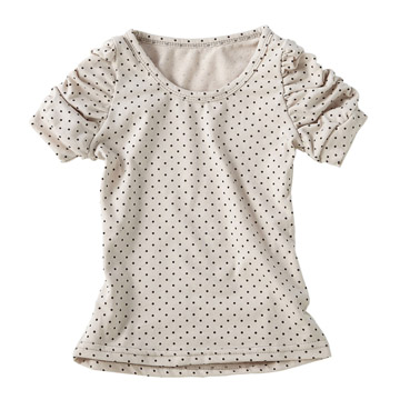 時尚系 米色-經典百搭棉質舒適圓點衫
