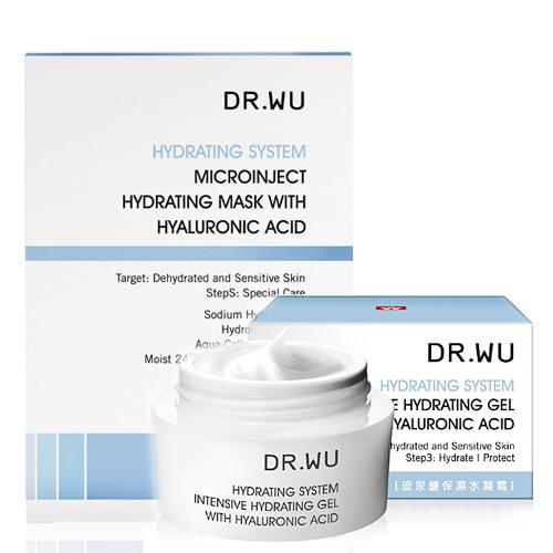 DR.WU 玻尿酸保濕水凝霜30ml+玻尿酸保濕微導面膜3pcs