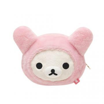 san-x 懒熊兔兔毛绒化妆包(大).懒妹脸型(米):my-mono