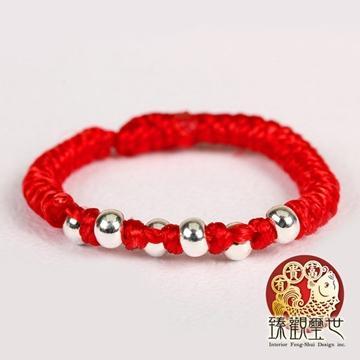 臻观玺世(is3160)纯银转运珠红绳红线戒指美妙的爱情