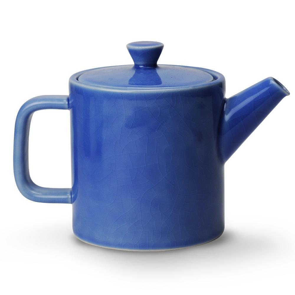 云蓝裂釉茶壶