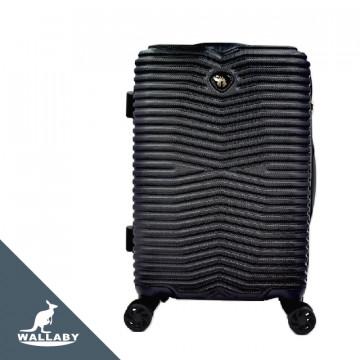 質感×ABS+PC材質 橫紋交錯 防刮拉鍊箱 WF2316-BK 黑