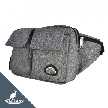 【WALLABY 袋鼠牌】MIT反光功能 單肩包/休閒包/腰包 灰色HRK-1917S