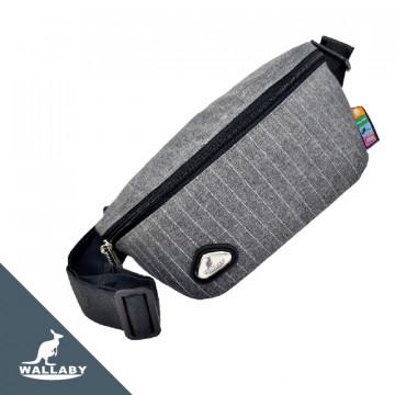 【WALLABY 袋鼠牌】MIT反光功能 斜背包/單肩包/腰包 灰色HRK-1919S