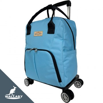 WALLABY 袋鼠牌  素色 防水輕量拉桿包 天空藍 可拉/可提/可分離/可收納