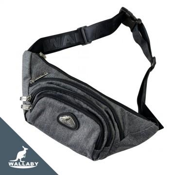 【WALLABY 袋鼠牌】MIT 腰包單肩包 兩用包 輕量外出包 防潑水 灰色/藍色/黑色