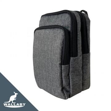 【WALLABY 袋鼠牌】男女通用 MIT 手機包 輕量外出包 防潑水 灰色/黑色/藍色 HSK-2013