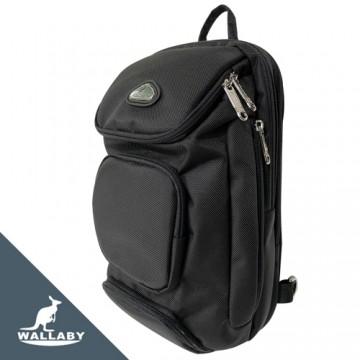 【WALLABY 袋鼠牌】MIT 大容量單肩包 輕量外出包 防潑水 黑色