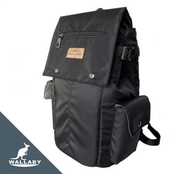 【WALLABY 袋鼠牌】MIT 台灣製造 休閒背包 書包 外出背包 輕量防潑水 黑色 HSK-2122BK