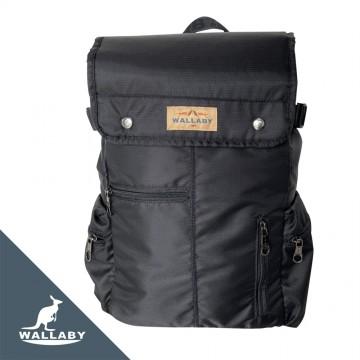 【WALLABY 袋鼠牌】MIT 台灣製造 休閒背包 書包 外出背包 輕量防潑水 黑色 HSK-2123BK