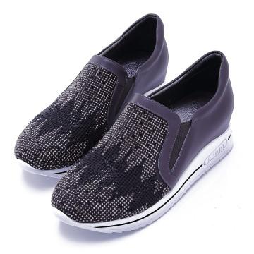 W2501 全真皮內增高水鑽休閒鞋 流星灰