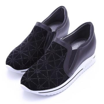 W2502 全真皮內增高水鑽休閒鞋 幾合黑