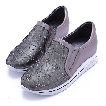 W2502 全真皮內增高水鑽休閒鞋 幾合灰銀