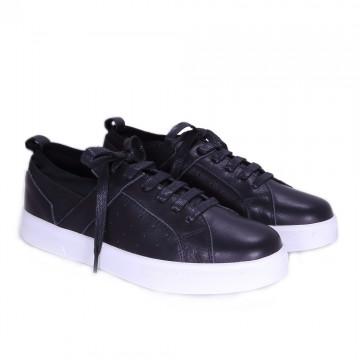 彈性套入式真皮休閒鞋  黑白黃灰四色