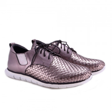 全真皮編織閃耀面料休閒鞋   黑&灰銀&銀三色