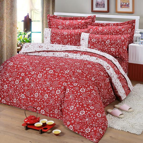 【紅】精梳棉  大花朵朵  床包組 / 床罩組