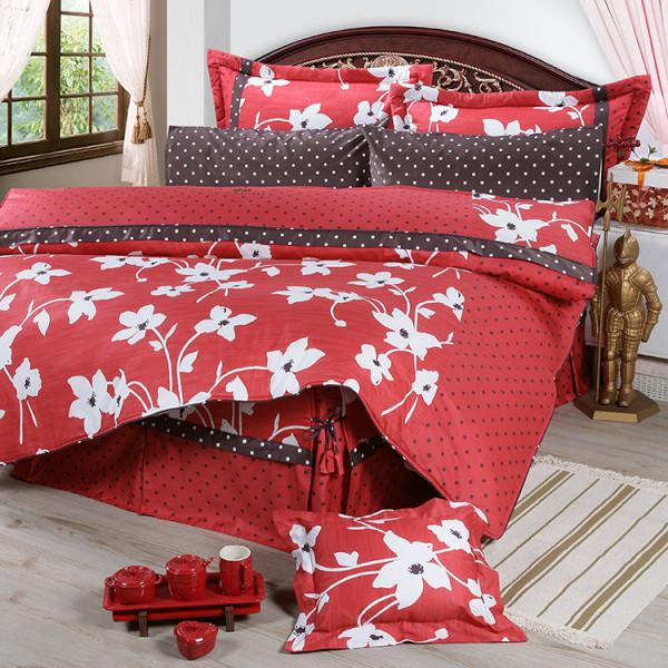 【紅】精梳棉  花開原點  床包組/床罩組