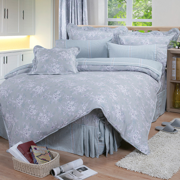 【藍】精梳棉 簡單花樣 床包組 / 床罩組