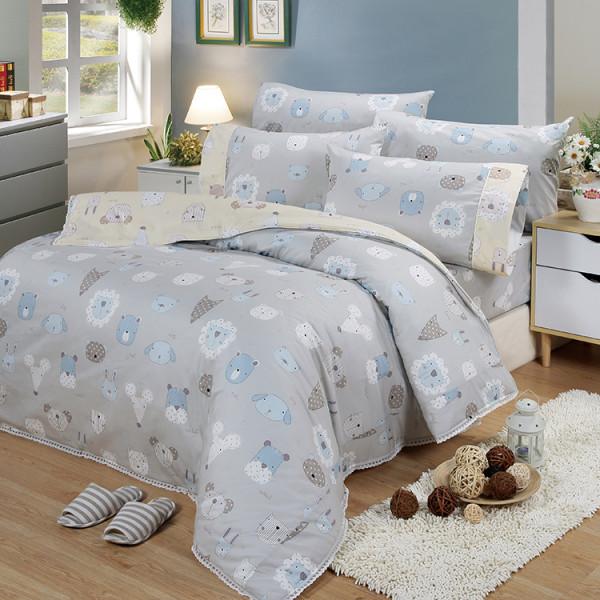 【灰】精梳棉 童話世界 床包組 / 床罩組