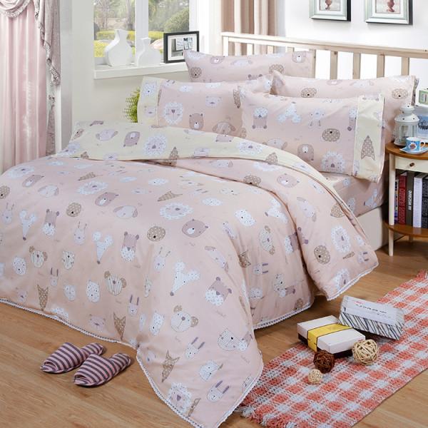 【粉】精梳棉 童話世界 床包組 / 床罩組