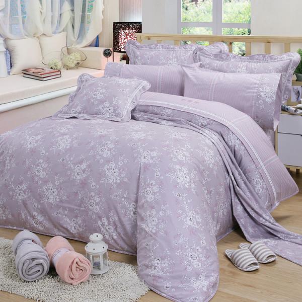 【紫】精梳棉 簡單花樣 床包組 / 床罩組
