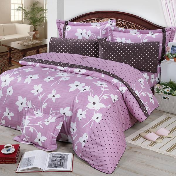【紫】精梳棉  花開原點  床包四件組