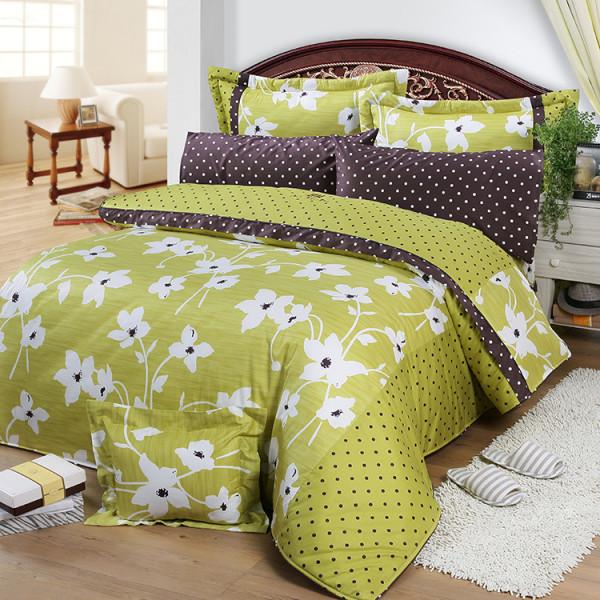 【綠】精梳棉  花開原點  床包四件組