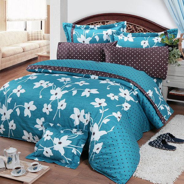 【藍】精梳棉  花開原點  床包四件組