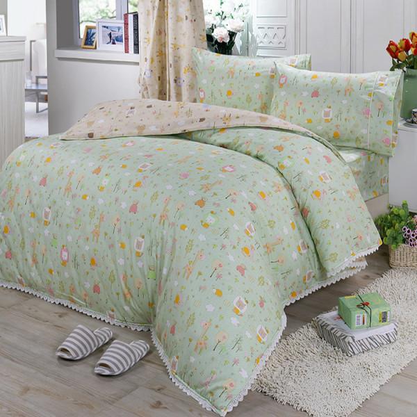 【綠】精梳棉  動物樂園  床包組 / 床罩組