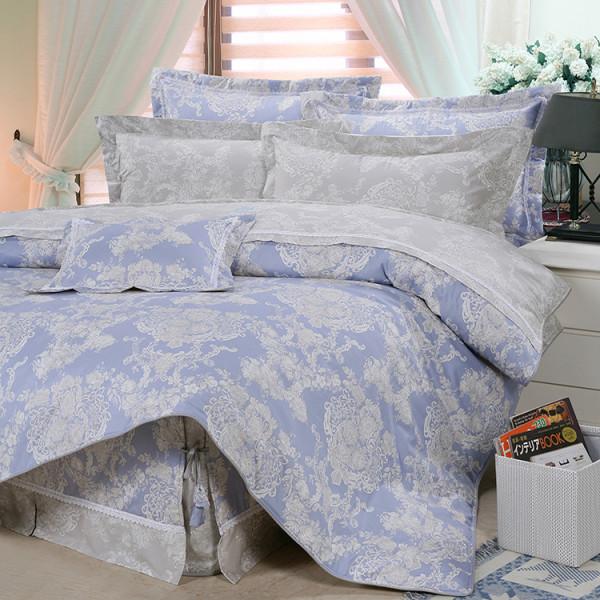 【藍】精梳棉  法式香頌 床包組 / 床罩組
