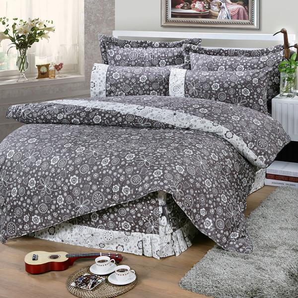 【灰】精梳棉  大花朵朵  床包組 / 床罩組