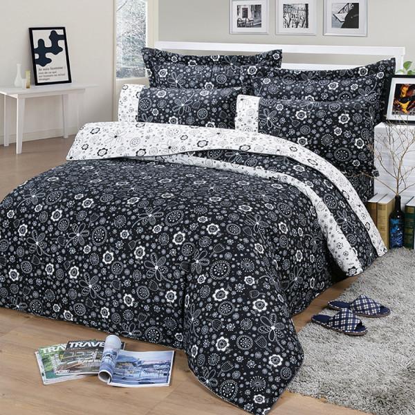 【黑】精梳棉  大花朵朵  床包組 / 床罩組