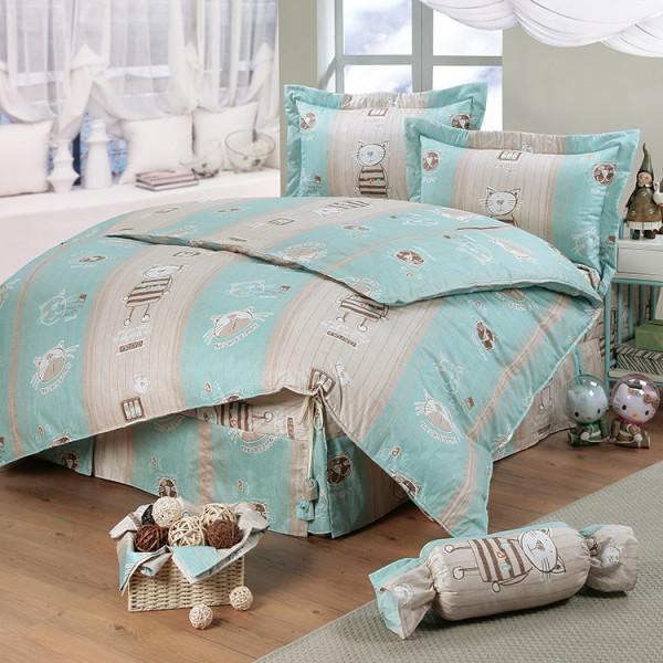 【藍】100%純棉 貓咪樂園 床包四件組