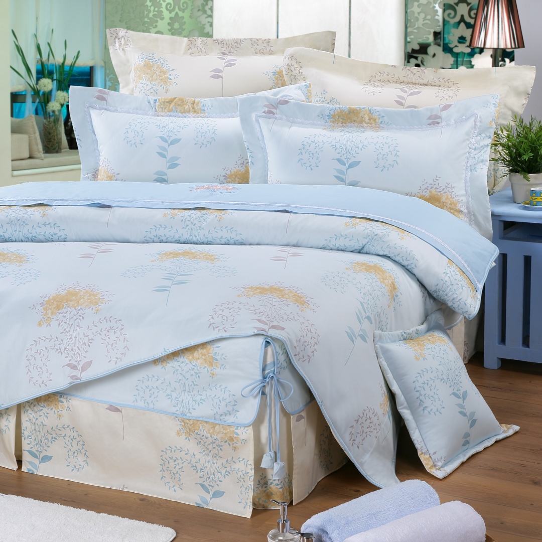 【藍】精梳棉 花妍之戀 床包組 / 床罩組