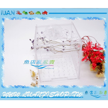LUANFISHOP高透明壓克力真空吸盤DIY飼育箱/產卵箱/繁殖箱10cm(缸內型)
