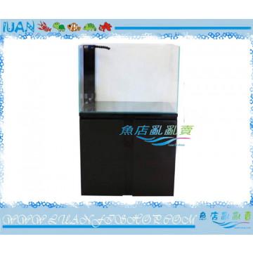 LUANFISHOP超白玻璃2尺開放型玻璃缸(黑色編織紋)60x40x50底部過濾套組