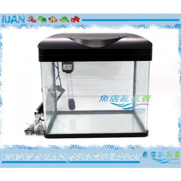 台灣UP雅柏時尚小彎角ㄇ型玻璃套缸48cm黑色(含上蓋+上部過濾+LED燈具)