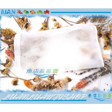 LUANFISHOP拉繩濾材網袋15*23cm(I)細網袋1入(細目)吸氨石.陶瓷環.活性碳