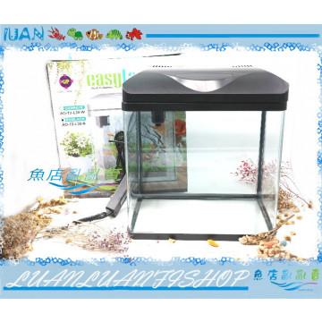 台灣UP雅柏時尚小彎角ㄇ型玻璃套缸38cm黑色(含上蓋+上部過濾+LED燈具)