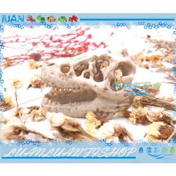 爬蟲水族裝飾造景 仿真侏儸紀恐龍化石頭骨8.5x5.5x4.5cm棲息躲避洞穴(蜘蛛.蛇類.幼魚)