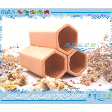 多功能陶管組G0159紫砂蝦屋三管六角(磚紅)10*9.5*9.5cm水晶蝦繁殖組