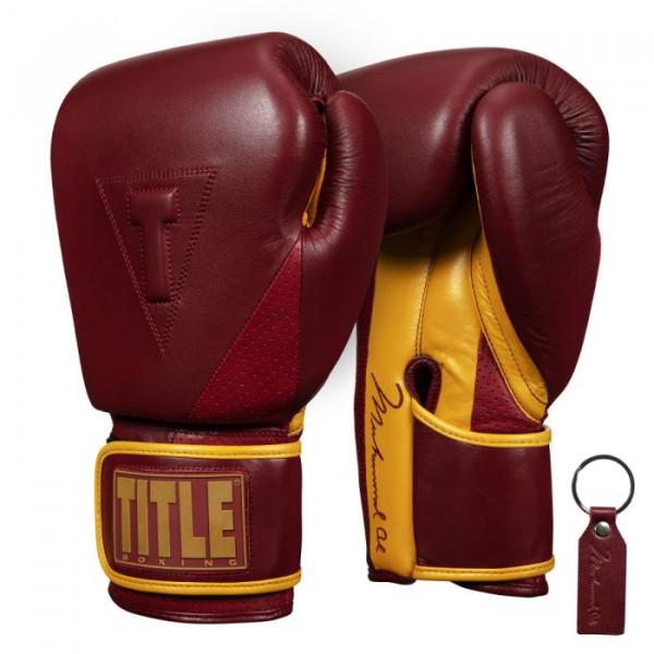 TITLE Ali限量版專業拳擊訓練手套 - 栗色/金 - ALIEATG