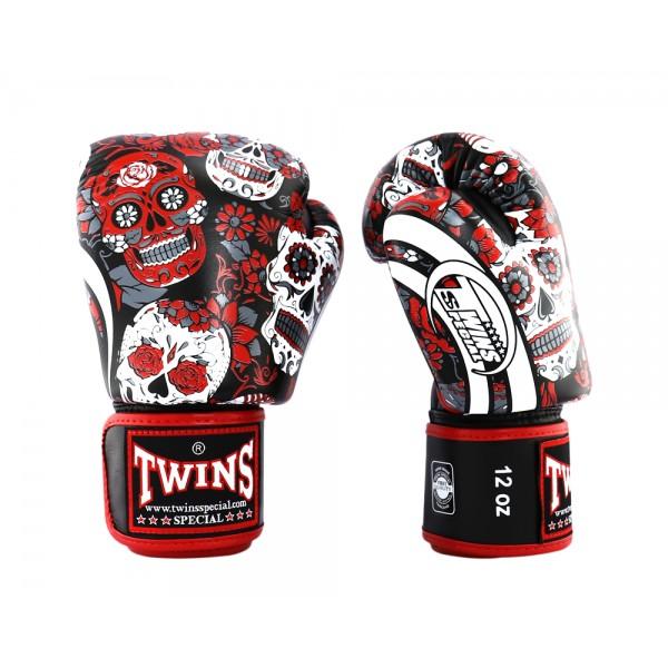 TWINS FANCY系列 真皮專業拳擊手套 - 黑/紅 - FBGVL3-53