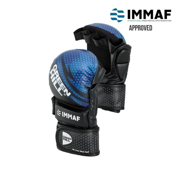 GREENHILL IMMAF認證 露指拳套 - 藍 - Mmi-602