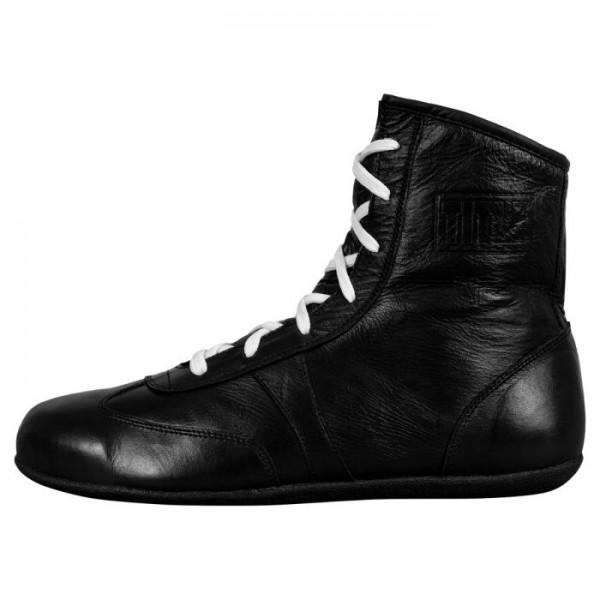 TITLE 復古真皮 中筒拳擊鞋 - 黑 - OSSBS