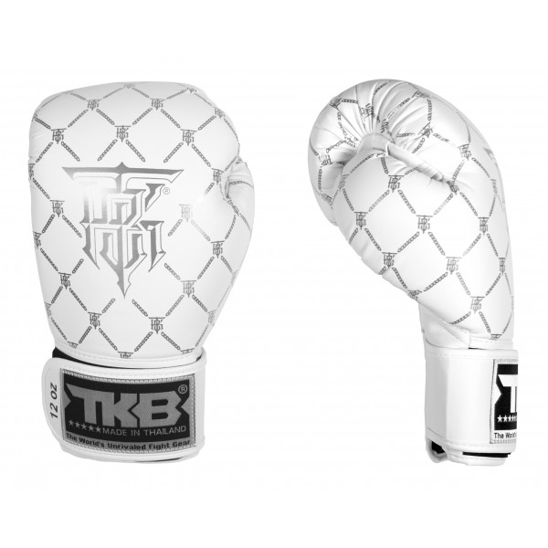TOP KING 拳擊手套 CHAIN系列 - 白/銀 - TK BG CHA WH/SI