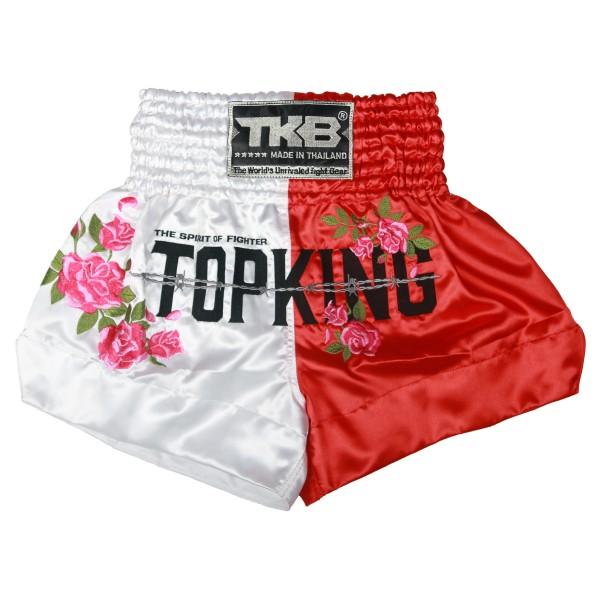 TOP KING 專業泰拳褲 戰士靈魂系列 - 玫瑰 - 白/紅 - TKTBS-203